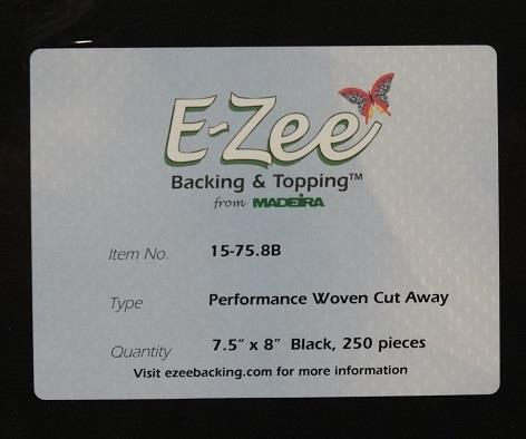 #15-75.8B E-ZEE TEAR WASHAWAY 2.0oz MADEIRA MEDIUM WEIGHT WASHAWAY BLACK EMBROIDERY BACKING
