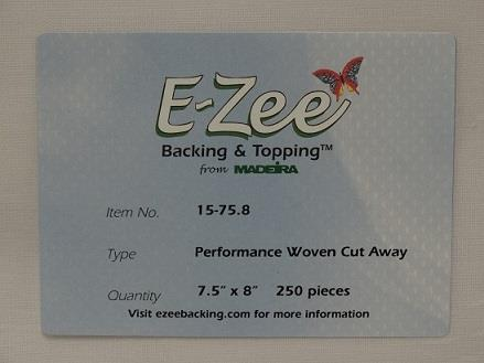 #15-75-8 Madeira E-Zee Cut® Performance Embroidery backing - 7.5in x 8 in 250 pack in white.
