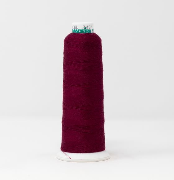 #813-3491 1100 yard cone of #12 weight Red Purple Burmilana wool embroidery thread.