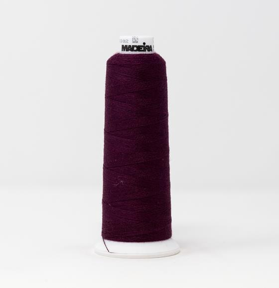 #813-3492 1,100 yard cone of #12 weight Red Purple Burmilana wool embroidery thread.