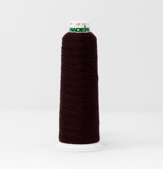#813-3717 1,100 yard cone of #12 weight Red Brown Burmilana wool embroidery thread