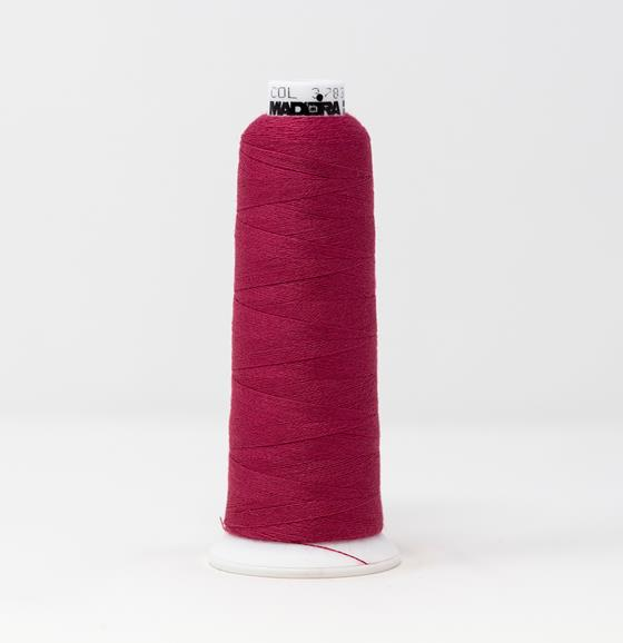 #813-3783 1100 yard cone of #12 weight Burmilana #12 wool blend dark pink embroidery thread.