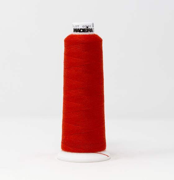#813-3800 1,100 yard cone of #12 weight Red Orange Burmilana wool embroidery thread.