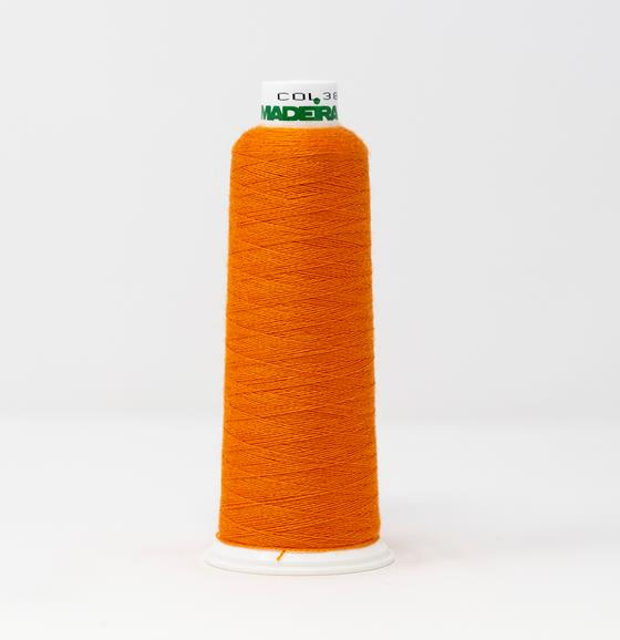 #813-3852 1,100 yard cone of #12 weight Orange Burmilana wool embroidery thread.