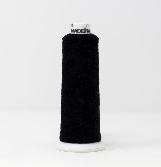 #816-3000 1100 yard cone of #12 weight Black BurmilanaCo cotton blend embroidery thread.