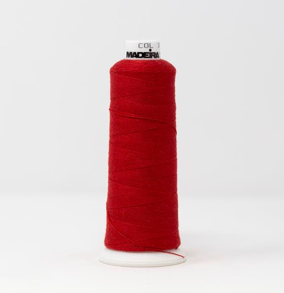#816-3039 1100 yard cone of #12 weight Red BurmilanaCo cotton blend embroidery thread.