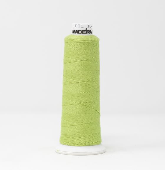 #816-3048 1100 yard cone of #12 weight Green Yellow BurmilanaCo cotton blend embroidery thread.