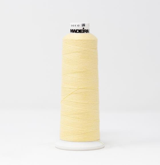#816-3067 1100 yard cone of #12 weight Yellow BurmilanaCo cotton blend embroidery thread.