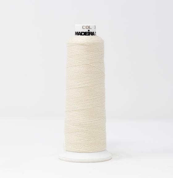 #816-3071 1100 yard cone of #12 weight White BurmilanaCo cotton blend embroidery thread.