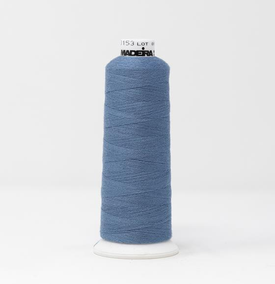 #816-3153 1,100 yard cone of #12 weight Light Blue BurmilanaCo cotton blend machine embroidery thread.