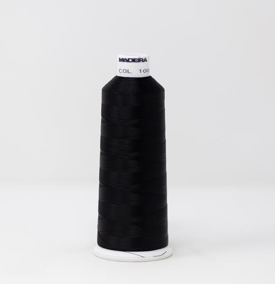 #910-1000 5500 yard cone of #40 weight rayon embroidery thread in Emerald Black.