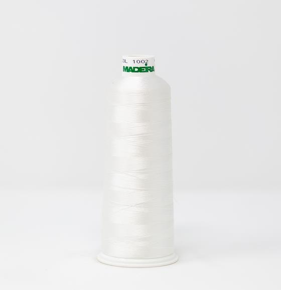 #910-1002 5500 yard cone of #40 weight rayon embroidery thread in Snow White.