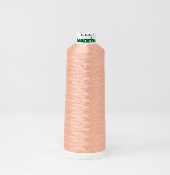 #910-1018 5,500 yard cone of #40 weight Light Salmon Rayon machine embroidery thread.