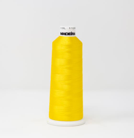 #910-1124 5,500 yard cone of #40 weight Classic Rayon Gold Rush Yellow machine embroidery thread.