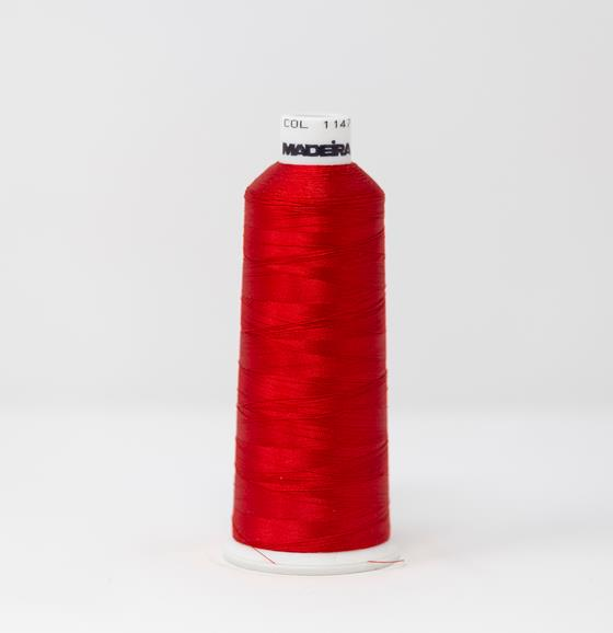 #910-1147 5500 yard cone of #40 weight rayon embroidery thread in Christmas Red.