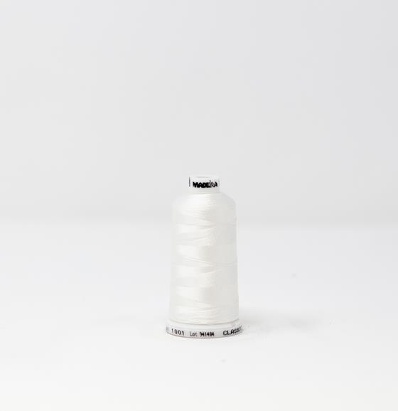 #911-1001 1100 yard spool of #40 weight rayon embroidery thread in Super White