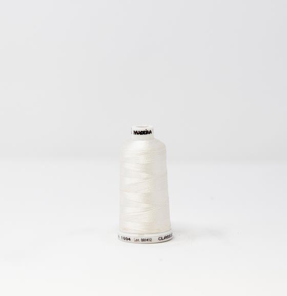 #911-1004 1100 yard spool of #40 weight rayon embroidery thread in Natural White