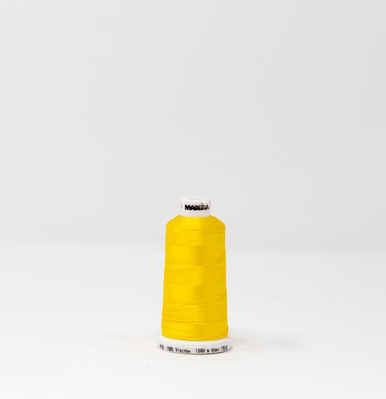 #911-1124 1,100 yard spool of #40 weight Classic Rayon Gold Rush Yellow machine embroidery thread.