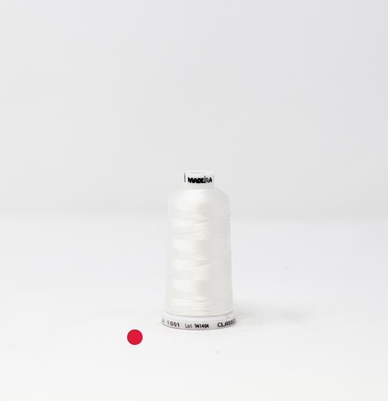 #914-1001 714 yard spool of #30 weight rayon embroidery thread in Super White