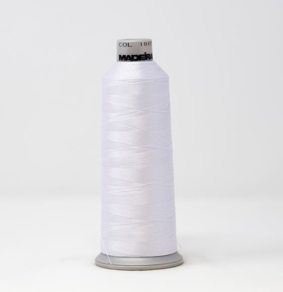 #918-1805 5500 yard cone of #40 weight polyester Fluorescent  White machine embroidery thread
