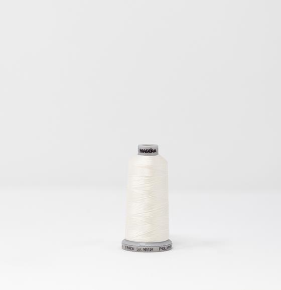 #919-1803 1100 yard spool of #40 weight polyester Cream White machine embroidery thread.