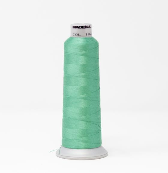 #929-N1845 2,735 yard cone of #40 weight Fire Fighter embroidery thread in light green.