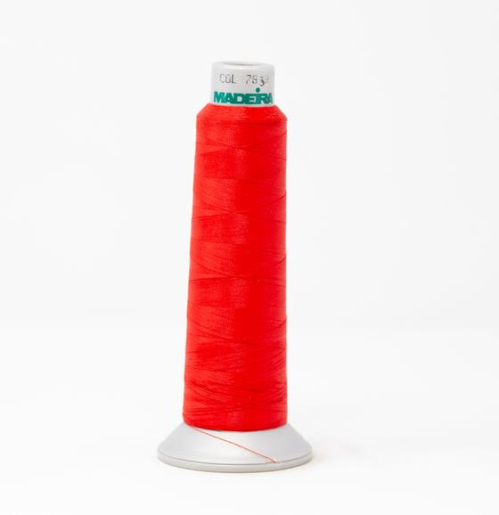 #940-7838 2,700 yard cone Frosted Matt #40 embroidery thread in red..