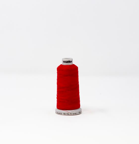#942-7747 1,100 yard cone Frosted Matt #40 machine embroidery thread in red.