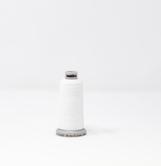 #942-7801 1100 yard cone Frosted Matt #40 embroidery thread in white.
