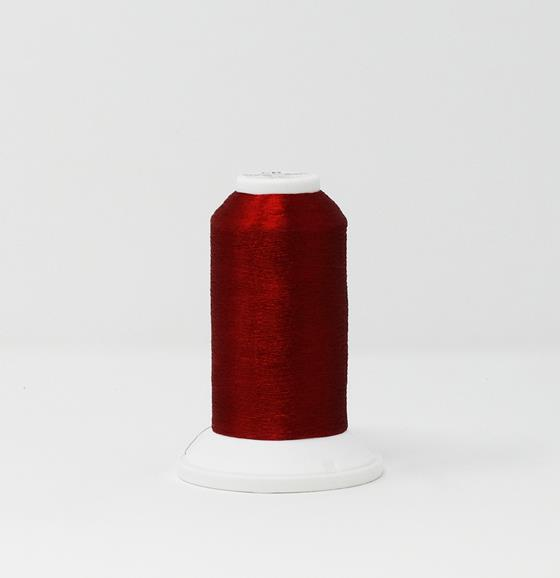 978-4214 2,700 yard cone of Madeira Polyester CR Metallic embroidery thread in Jasper Red.