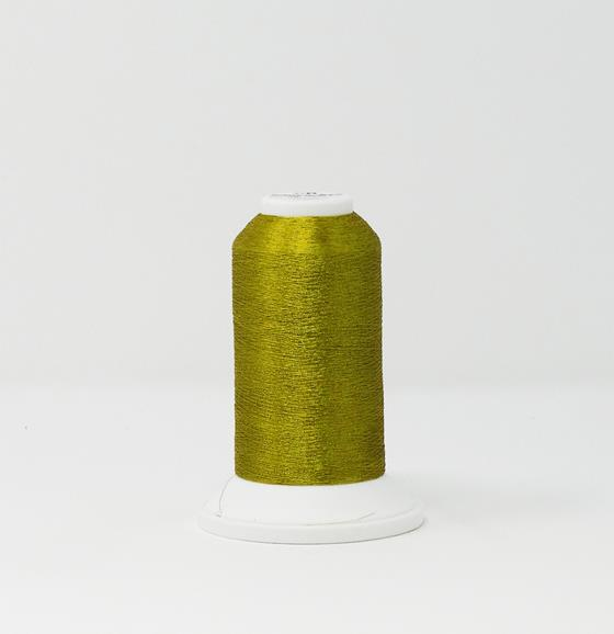 978-4217 2,700 yard cone of Madeira Polyester CR Metallic embroidery thread in Citrine Yellow.