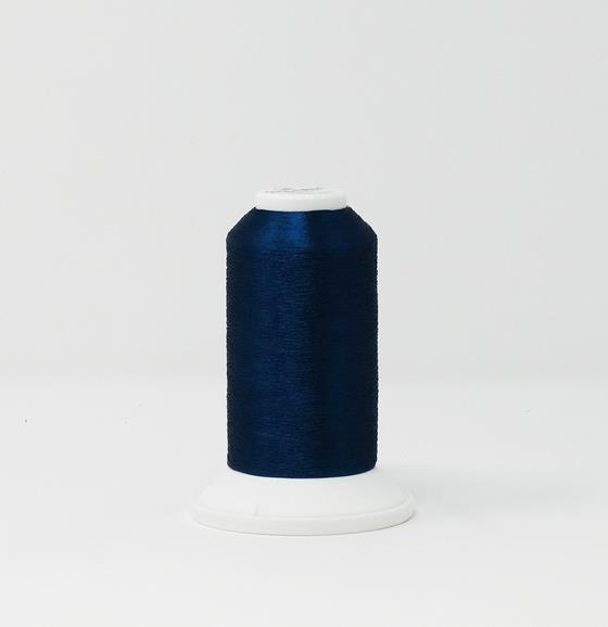 978-4267 2,700 yard cone of Madeira Polyester CR Metallic embroidery thread in Iapis Lazuli Blue.