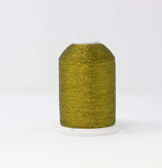 982-257 5,500 yard cone of #30 weight Golden Yellow Green Supertwist metallic machine embroidery thread.