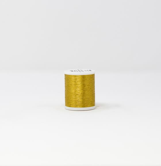 #985-4004 40 Weight 1,100 yard spool of Gold 4 color Madeira FS Metallic machine embroidery thread.