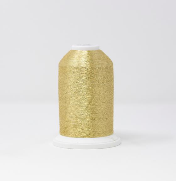 #986-4002 40 Weight 5,500 yard cone of Gold 2 color Madeira FS Metallic machine embroidery thread.