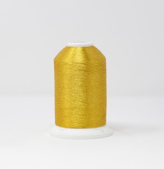 #986-4003 #40 Weight 5,500 yard cone of Gold Madeira FS Metallic machine embroidery thread.
