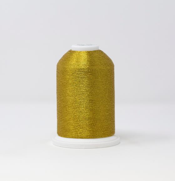 #986-4004 40 Weight 5,500 yard cone of Gold 4 color Madeira FS Metallic machine embroidery thread.