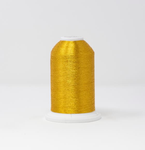 #986-4007 40 Weight 5,500 yard cone of Gold 7 color Madeira FS Metallic machine embroidery thread.