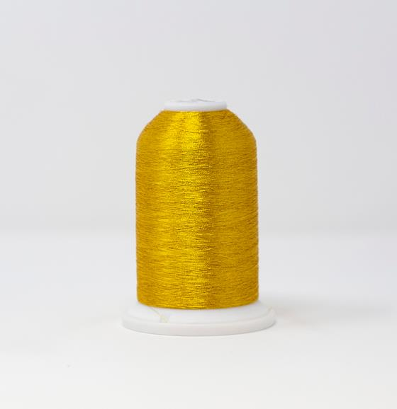 #986-4008 40 Weight 5,500 yard cone of Gold 8 color Madeira FS Metallic machine embroidery thread.