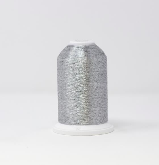 #986-4011 40 Weight 5,500 yard cone of Aluminum color Madeira FS Metallic machine embroidery thread.