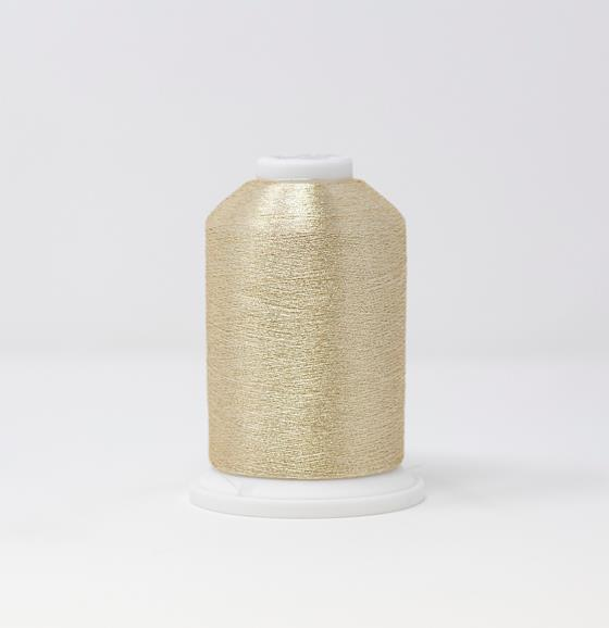 #986-4022 40 Weight 5,500 yard cone of White Gold color Madeira FS Metallic machine embroidery thread.