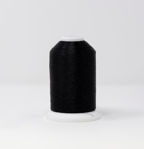 #986-4071 40 Weight 5,500 yard cone of Graphite color Madeira FS Metallic machine embroidery thread.