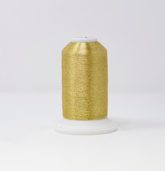#995-4012 #40 Weight 3,300 yard cone of White Gold Madeira Soft Metallic machine embroidery thread.